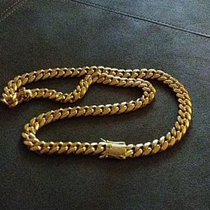 18k 12mm Gold Plated Cuban Link Chain